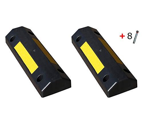 Tope ruedas de plástico polipropileno Silver para estacionar rueda de coche dimensiones 50x16x8 cm (2- Topes + tornillería)