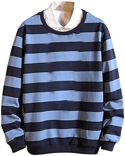 Biooarc Heren Mode Gestreepte Valse Kraag Sweatshirt Comfortabele Grote Maat Pullover