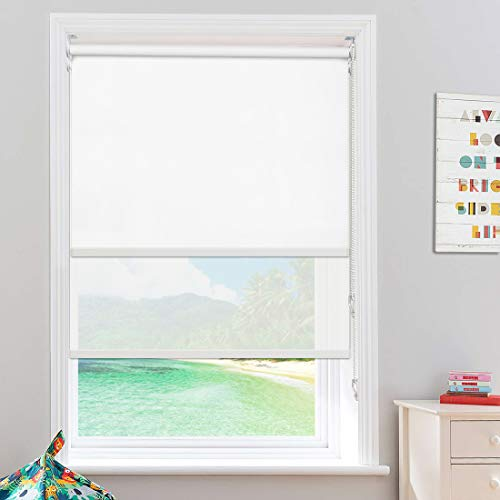 """Keego Blackout Shades- Roller Shades for Windows Sheer Dual Roller Window Blinds- Compatibled Blackout and Light Filtering Window Shades[White 100% Blackout & White 50% Filtering,33"""" W x 72"""" H(Inch)]"""