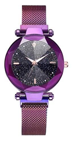 ALCENTIS – Reloj elegante para mujer – Pulsera de malla milanesa morado – Esfera analógica con fondo negro estrellado con 1 pequeño brillo