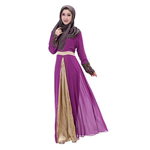 LILICAT Kleid Damen Robe Lange Maxi Kleid Dubai Patchwork Rock Islam Abaya Muslimische Kleidung Wrap Langarm Casual Dress Abendkleider Elegant Kleid Cocktail Petticoat