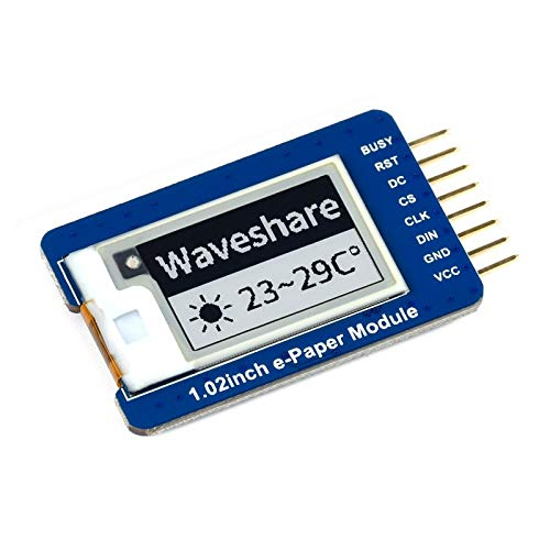 1.02inch E-Ink Display Module 128×80 Black/White Dual-Color SPI Interface Working with Raspberry Pi/Jetson Nano/Arduino/Nucleo Compatible with 3.3V/5V MCUs