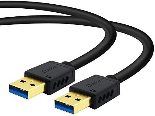 『DTECH USB 3.0 ケーブル 0.25m タイプA-タイプA オス-オス 金メッキコネクタ搭載 ブラック』のトップ画像