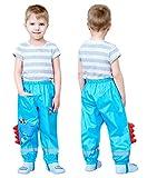 TURMIN 3D Carino Pantaloni Impermeabili Bambino, Pantaloni Pioggia Bambini Pantaloni Antipioggia Pantaloni Leggeri da Fango Impermeabili da Bambina per Ragazzi Ragazze 2-12 Anni-Blu-S