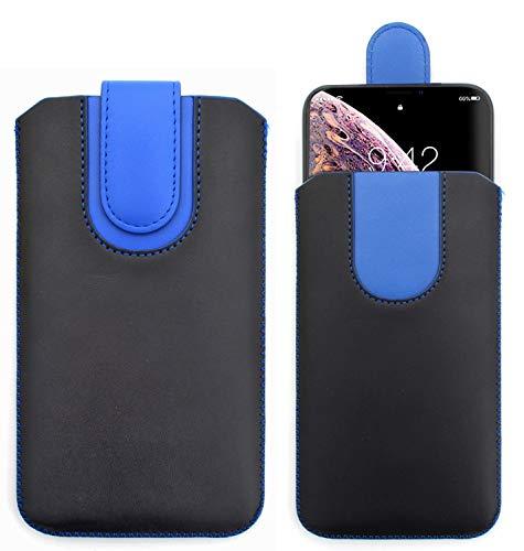 Sweet Tech Schutz-Tasche [Black/BLAU] für Danew Konnect 504 / Denver SDQ-52001G / Denver SDQ-52004L - Pu Leder Schutzhülle herausziehbar genaeht mit Rausziehband & magnetischen Schneller
