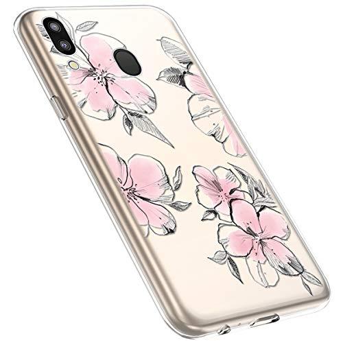 MoreChioce kompatibel mit Samsung Galaxy M20 Hülle,Galaxy M20 Handyhülle Blume,Ultra Dünn Transparent Silikon Schutzhülle Clear Crystal Rückschale Tasche Defender Bumper,Blumenzweig #28