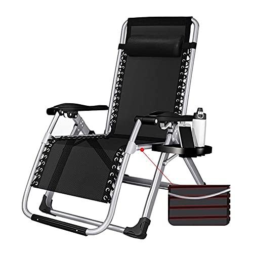 GAXQFEI Portable Outdoor-Recliner W/Cup-Halter-Tabletts-Verstärkungsbandage, Hochleistungs-Faltbare, Liegende Terrassenstühle,Silber
