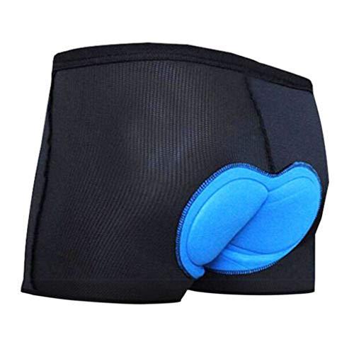 Fahrradhose Kurz Herren Radunterhose männer Fahrrad Unterwäsche 3D Gel Sitzpolster Atmungsaktiv für Radfahrren MTB Radsport Unterhose (Blau, L)
