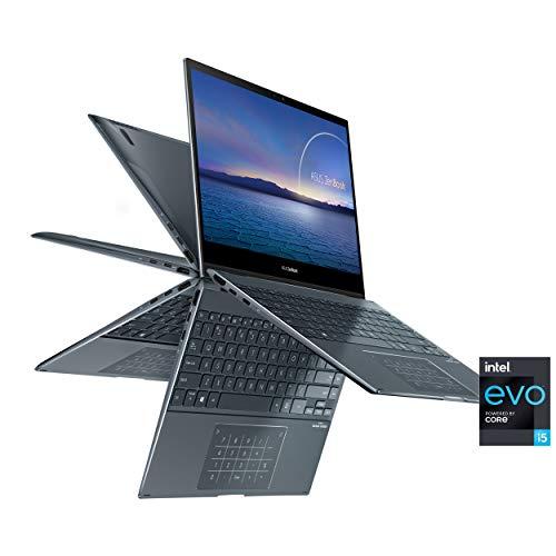 "ASUS ZenBook Flip 13 Ultra Slim Convertible Laptop, 13.3"" OLED FHD Touch Display, Intel Evo Platform - Core i5-1135G7 Processor, Iris Xe, 8GB RAM, 512GB SSD, Windows 10 Home, Pine Grey, UX363EA-DH51T"