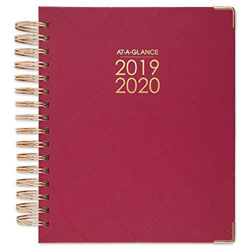 AT-A-GLANCE Agenda diária e mensal de ano acadêmico 2019-2020, média, 17,78 cm x 21,9 cm, capa dura, Harmony, Raspberry Geo (6099-806A-56)