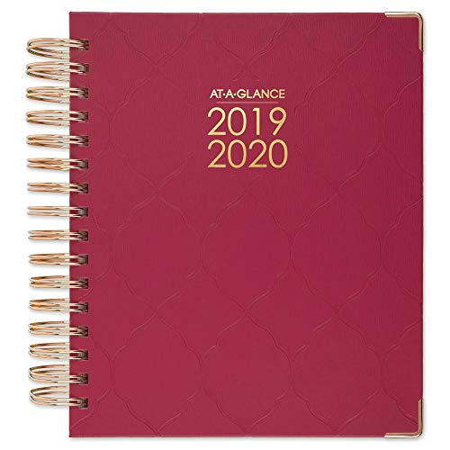 "AT-A-GLANCE 2019-2020 Academic Year Daily & Monthly Planner, Medium, 7"" x 8-3/4"", Hardcover, Harmony, Raspberry Geo (6099-806A-56)"