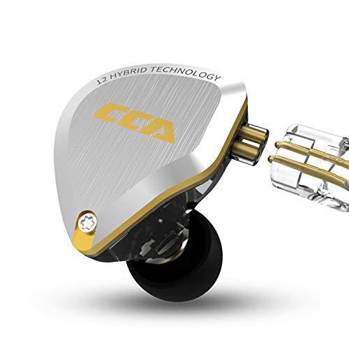 CCA C12 5BA+1DD HIFIハイブリッド型イヤホン 酸化処理で亜鉛合金フェイスプレート 肌に無害な樹脂 金メッキ3.5mmプラグと金メッキ0.75mm2pinコネクタ 重低音 リケーブル 音楽家 オーディオマニア用 (NO Microphone, gold)