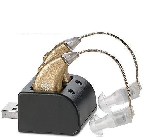 Amplificatori Digitali dell'Udito – Coppia di Amplificatori Personali dell'Udito BTE Ricaricabili con Stazione USB – Amplificazione del Suono di Alta qualità Dietro l'Orecchio – Di NewEar