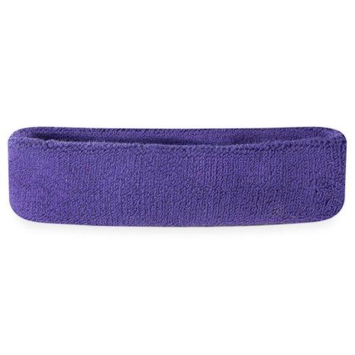 Suddora Sweatband/Headband - Terry Cloth Athletic Basketball Head Sweat Bands (Purple)