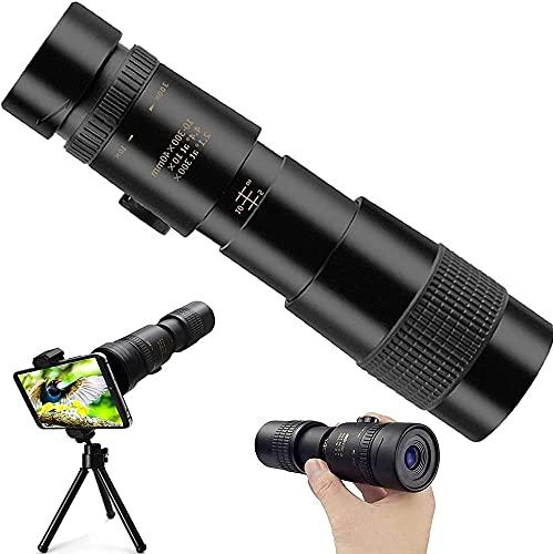 Telescopio monoculare 4K 10-30x40mm con supporto per smartphone e treppiede per adulti Bambini, cannocchiale monoculare HD impermeabile per Birdwatching, Caccia, Campeggio, Partite di Calcio,