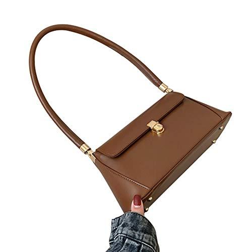 Women Leather Purses and Handbag Small Top-Handle Tote Bag Winter Satchel Handbags Shoulder Bags Baguette Bag (Brown, OneSize)