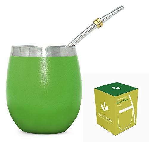 Novomates Yerba-Mate-Gourd (Becher) - Bestes Yerba Mate-Set - Doppelwandiger Edelstahl-Yerba Mate-Becher mit 2 Edelstahl-Mate-Bombillas (Trinkhalme) - 237 ml, Green
