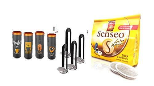 Senseo Frühstückskaffee KaffeePads (10 Pads/ 125g) + 4 Metallic Pad Dosen mit Padheber aus Kunststoff