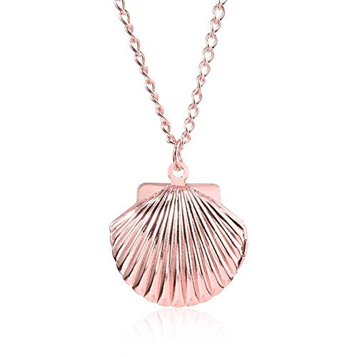 BJGCWY Collares de Concha de Sirena Colgantes medallón de Foto Creativa Gargantilla de Concha de mar Collar de Mujer joyería de Recuerdo baratijas 50cm Oro Rosa