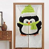 3つのかわいいクリスマスペンギン暖簾 のれん おしゃれ 目隠し ング 遮光玄関 キッチン リビング 飲食店 出入り口 幅85cm×丈150cm