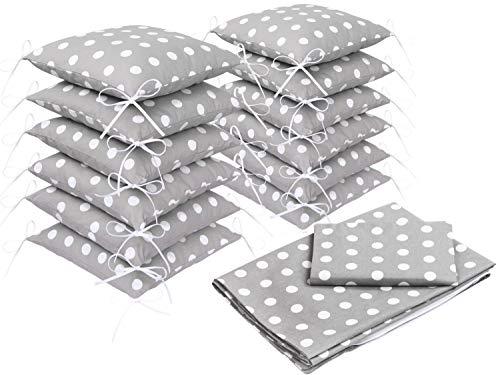 Set di biancheria da letto per lettino del bebè, con copripiumino e protezione paracolpi, design II, 100 cmx 135 cm, colore: grigio