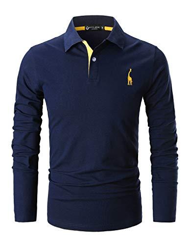 STTLZMC Poloshirt Herren Langarm Basic T-Shirt Freizeit Giraffe Stickerei Polohemd,Blau 1,L