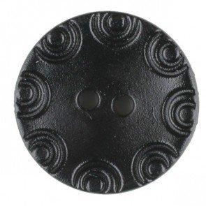 Dill® Bouton de mode, 13 mm, cercle gravé noir, deux trous.