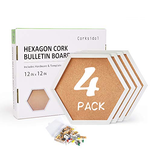 Corksidol Cork Bulletin Board Hexagon 4 Pack -Modern Framed Cork Board Tiles for Floor/Wall-Decorative Display Boards for Home Office, School Message Board with 20 Push Pin Wood Clips