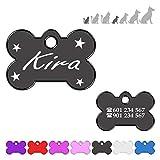 Hueso para Mascotas Muy pequeñas con Estrellas Placa Chapa Medalla de identificación Personalizada para Collar Perro Gato Mascota grabada (Negro)