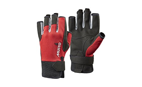 Musto Essential Sailing Yachting and Dinghy Short Finger Gloves Red - Adults Unisex - Lightweight. Breathable - Easy Stretch