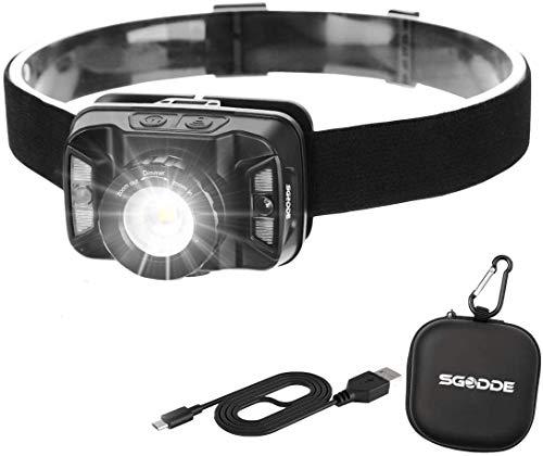 ヘッドライト LED USB充電式 センサー機能 ズーム機能 防水 防災 SGODDE 角度調節可能 5段階の点灯モード 高輝度 軽量 夜釣り ハイキング キャンプ サイクリング 登山 アウトドア作業 SOSフラッシュ機能 USBケーブル付き