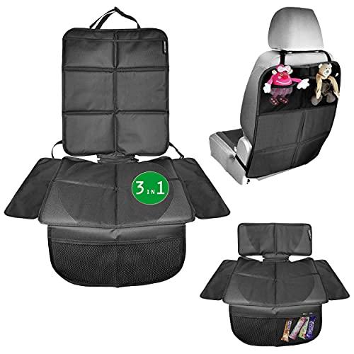 Babies1st Sitzschoner Auto Kindersitz Schutzunterlage | 3-in-1 Schutz | Kindersitzunterlage isofix | Unterlage für Sitzerhöhung und Rückenlehnenschutz