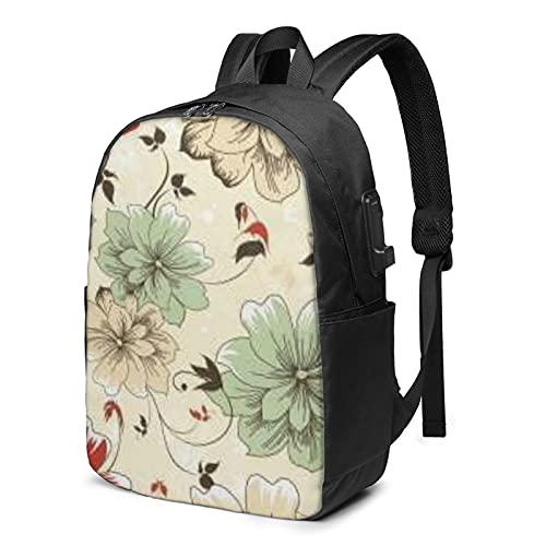 Mochila de flores bordadas con carga USB y puerto de auriculares con correa de hombro acolchada transpirable para la escuela/el trabajo/viajes niños niñas adultos