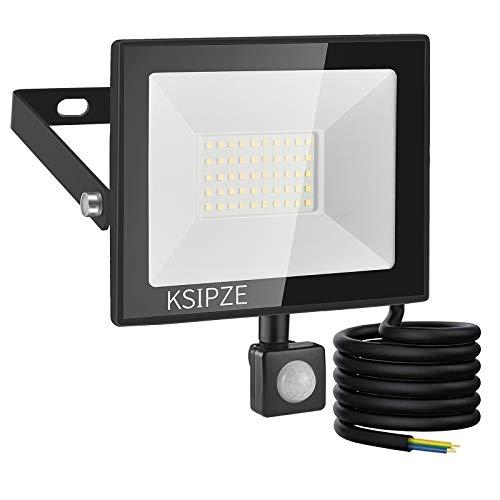 KSIPZE 50W LED Strahler LED Aussenleuchte Mit Bewegungsmelder Aussen 4500LM 6000K Kaltweiß Superhell IP65 Wasserdicht strahler LED Scheinwerfer