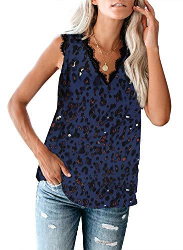 SLYZ Mujeres Europeas Y Americanas De Verano De Color Sólido con Cuello En V Pestañas De Encaje Sin Mangas Blusa Estampada Chaleco De Fondo Camiseta