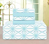 Elegant Comfort Luxury Soft Bed Sheets Cube Pattern 1500 Thread Count Percale Egyptian Quality Softness Wrinkle and Fade Resistant (6-Piece) Bedding Set, Full, Aqua
