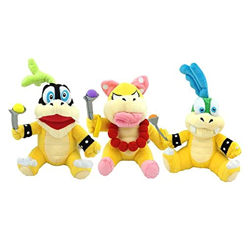 Nucifer 3 Pack of Larry Iggy & Wendy Koopa Plush Doll Stuffed Animals Figure Soft Anime Collection Toy (8 inch)