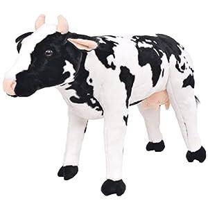 vidaXL Vaca de Peluche Grande de Pie Talla XXL Animal de Juguete Vaquita Niños