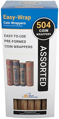 Royal Sovereign Preformed Coin Wrappers. 504 Assortment Pack, Penny, Nickel, Dime, and Quarter Coin Wrappers (FSW-504A)