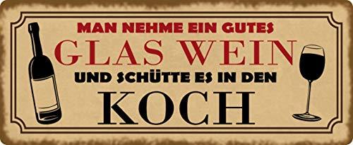 Metalen bord 27 x 10 cm Man Neem een goed glas wijn spreuk humor spreuken geschenk decoratie bord