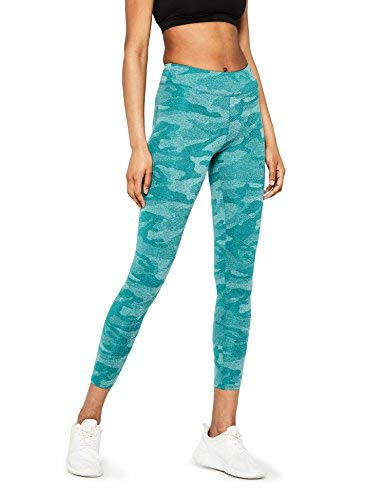Marca Amazon - AURIQUE Leggings Deportivos Camuflaje Mujer, Azul (Harbor Blue), 40, Label:M