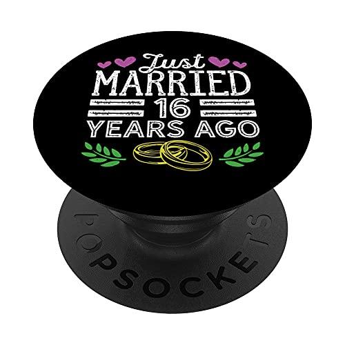 Recién Casados 16 Años Aniversario De Bodas Parejas Casadas PopSockets PopGrip Intercambiable