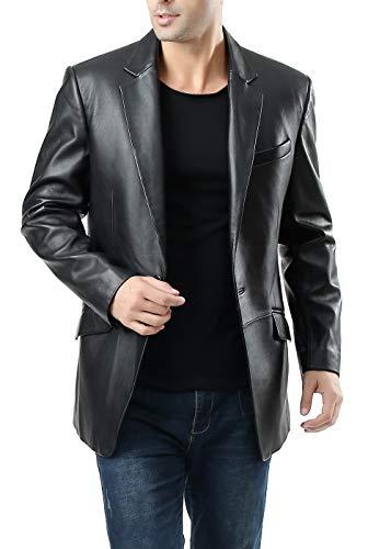 BGSD Men's John 1-Button Lambskin Leather Blazer Black Large