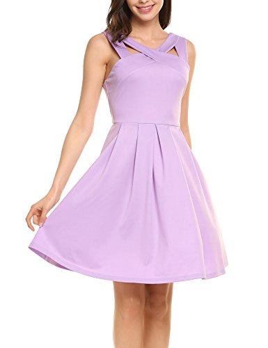 Meaneor Damen Neckholder Kleid A-Linie Kleid Skaterkleid Brautjungferkleid Cocktailkleid Partykleid Knielang Ärmellos Stretch