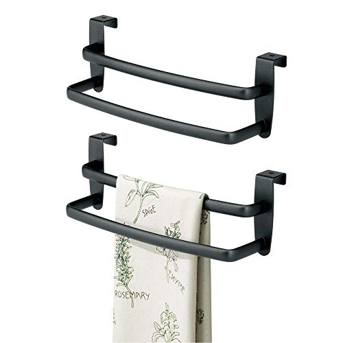 mDesign Metal Modern Kitchen Over Cabinet Double Towel Bar Rack - Hang on Inside or Outside of Doors - Storage and Organization for Hand, Dish, Tea Towels - 9.75