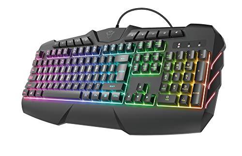 Trust Gaming Teclado Gamer LED RGB Semimecánico GXT 881 ODYSS Iluminación LED Multicolor en 6 Modos de Luz, Disposición QWERTY Español, Función Avanzada Anti-Ghosting, USB, con Cable, PC/Ordenador