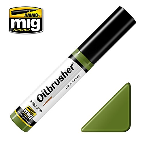 Ammo of Mig Oilbrusher Olive Green - Oil Paint with Fine Brush Applicator #3505
