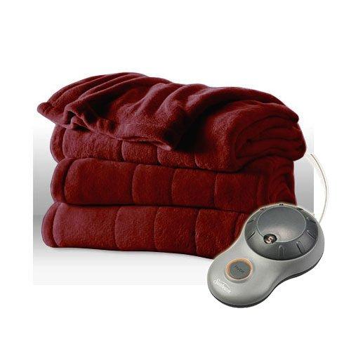 Sunbeam Slumber Rest Velvet Plush Garnet (Burgundy) Full Heated Blanket