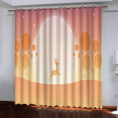 Modern Simple Style Polyester Quick-Drying Curtains European 3D Deer Printing Christmas Halloween Curtains Blackout Curtains For Living Room And Bedroom (2 Pieces)
