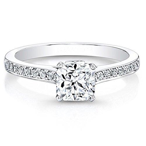 0,66ct Kissen Schnitt Moissanit Echter Diamant Verlobungsring Ehering massives 14K Weiß Gold Solitär Jahrestag Ringe Größe I, J, K L M N O P Q R S T (O)
